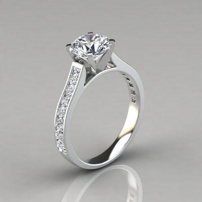 Princess Cut Side Stones Channel Set Engagement Ring