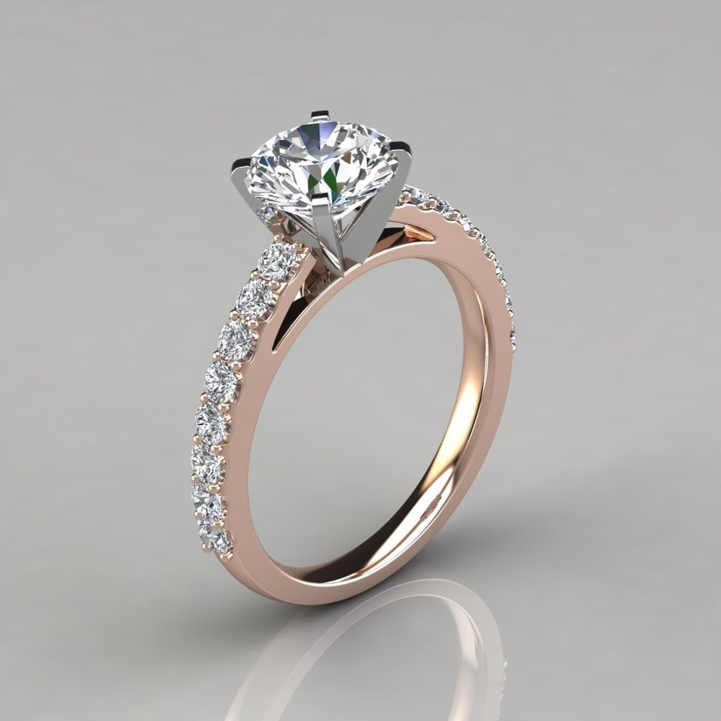Engagement Rings Round Cut: Round Cut Cathedral Style Engagement Ring