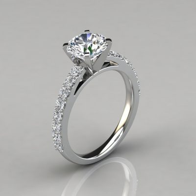 Round Cut Cathedral Style Engagement Ring