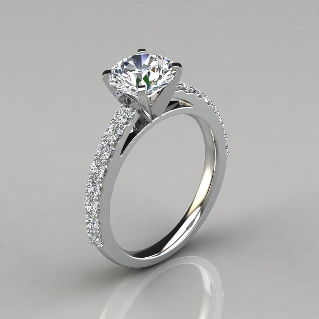 Round Cut Cathedral Style Engagement Ring - Forever Moissanite