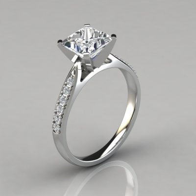Princess Cut Cathedral Pavé Engagement Ring