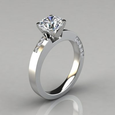 Asymmetric Pavé Round Cut Engagement Ring