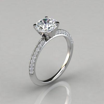 Knife Edge Pavé Round Cut Engagement Ring