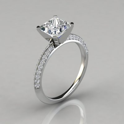 Two Sided Princess Cut Engagement Ring