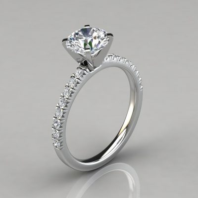 French Pave Cut Moissanite Engagement Ring