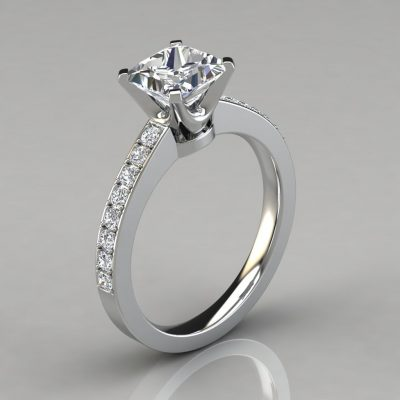 Novo Design Pavé Princess Cut Engagement Ring