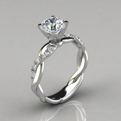 Twist Round Cut Engagement Ring