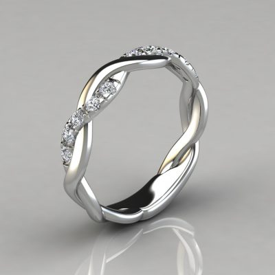 0.15Ct Twist Round Cut Wedding Band Ring