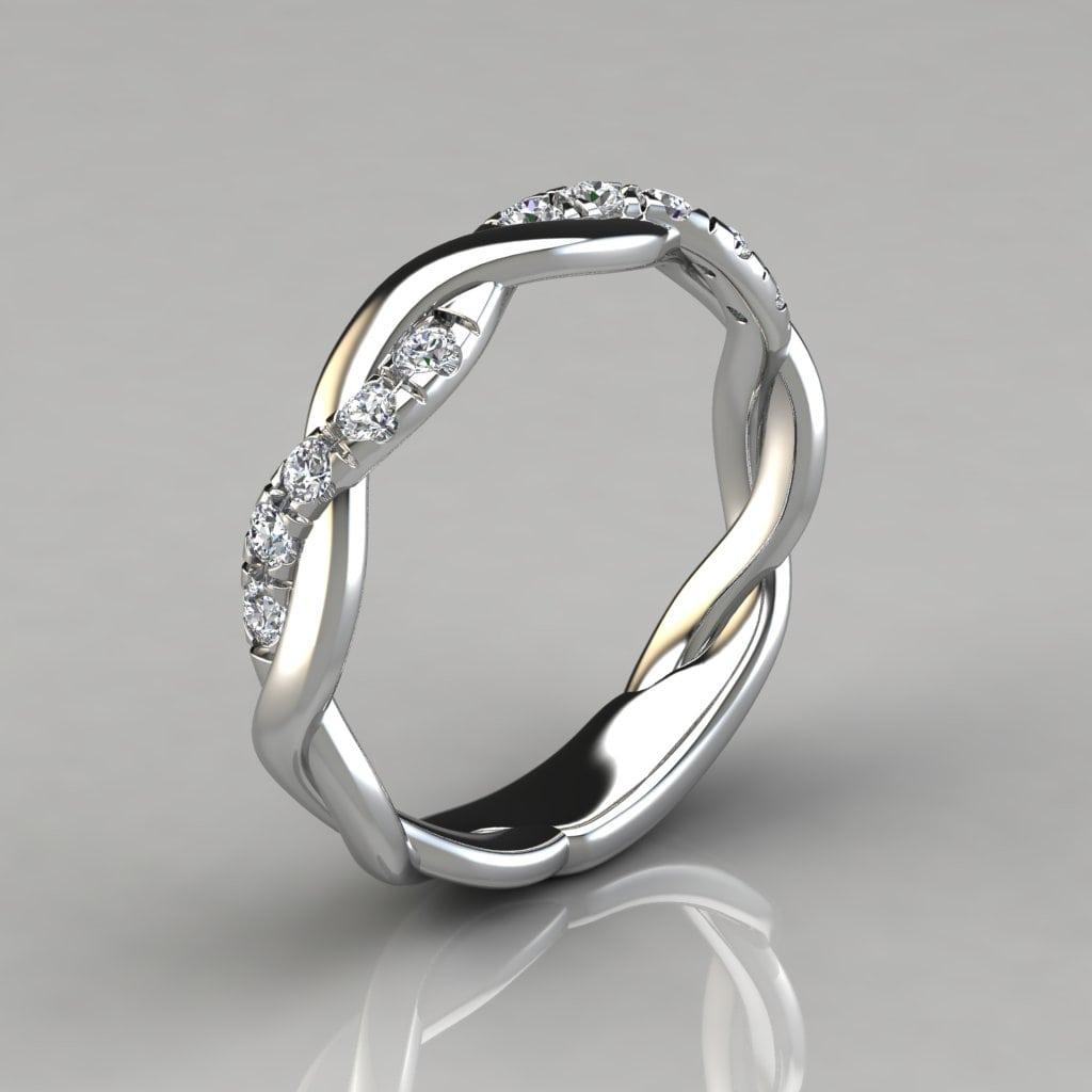 0.15Ct Twist Round Cut Wedding Band Ring
