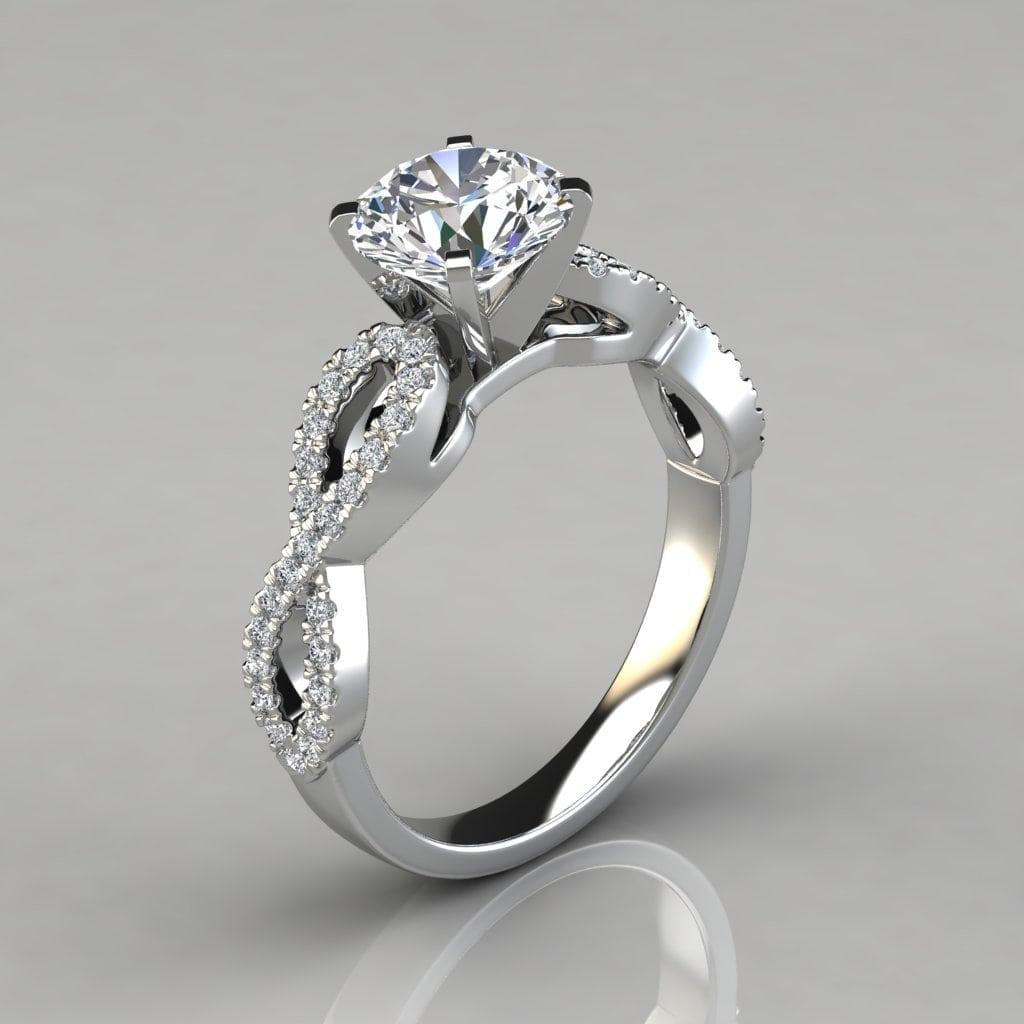 Infinity Design Round Cut Engagement Ring Forever Moissanite
