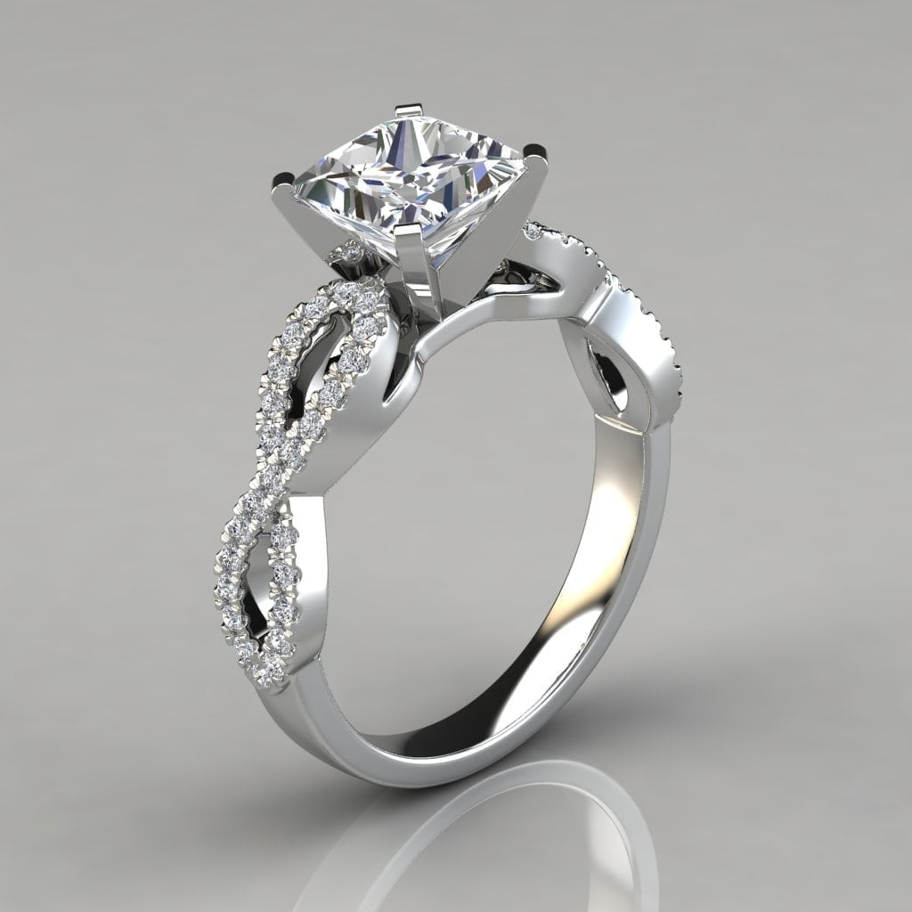 Infinity Design Princess Cut Engagement Ring