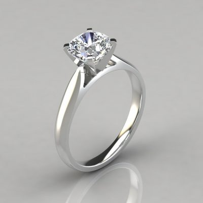 Tapered Cathedral Cushion Cut Engagement Ring