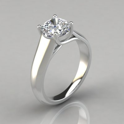 Lucida Wide Band Cushion Cut Solitaire Engagement Ring