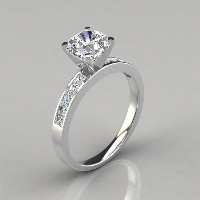 Channel Set Cushion Cut Moissanite Engagement Ring