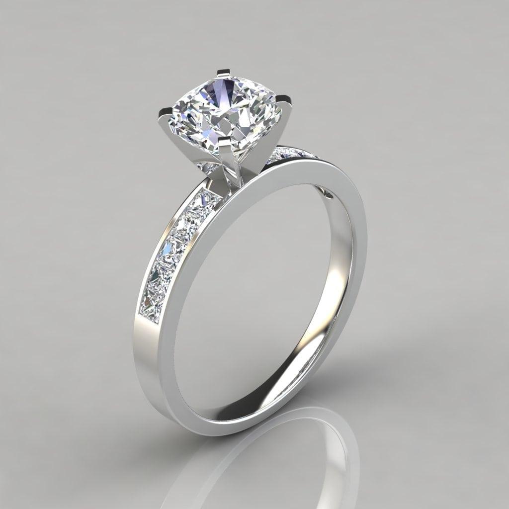 Channel Set Cushion Cut Moissanite Engagement Ring
