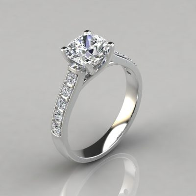 Cushion Cut Cross Prong Engagement Ring