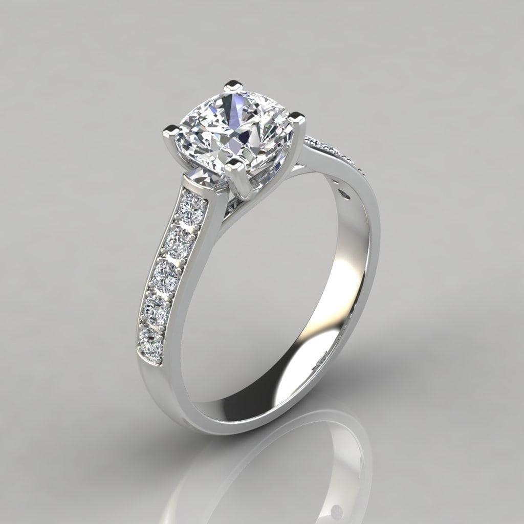 Cushion Cut Cross Prong Engagement Ring