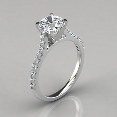 Cushion Cut Tall Cathedral Engagement Ring