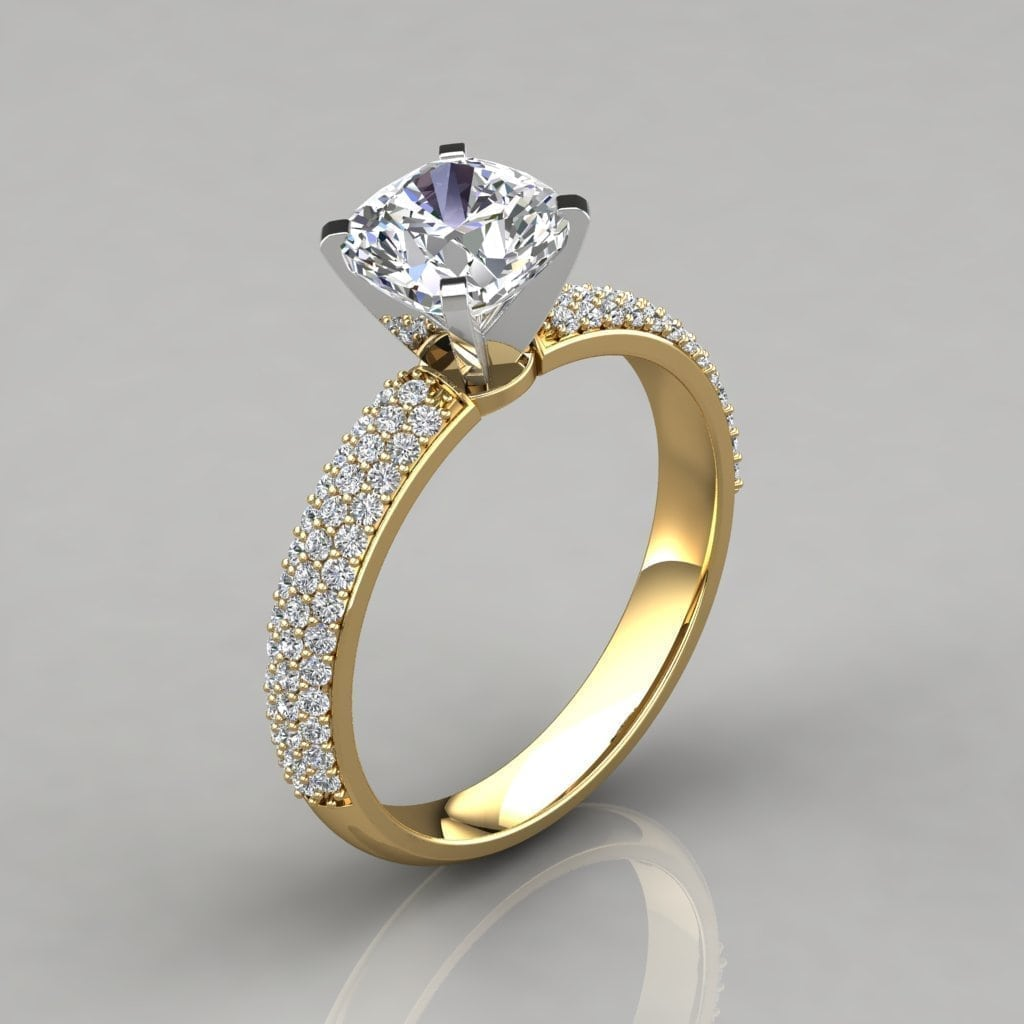 Micro Pave Cushion Cut Engagement Ring Forever Moissanite
