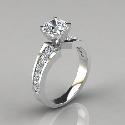 Graduated Pavé Cushion Cut Engagement Ring