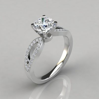 Cushion Cut Split Shank Micro Pavé Engagement Ring