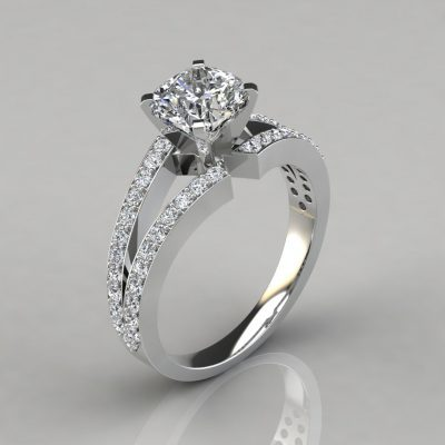 Split Shank Pavé Cushion Cut Engagement Ring