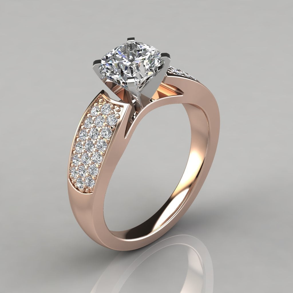 Wide Band Cushion Cut Engagement Ring Forever Moissanite