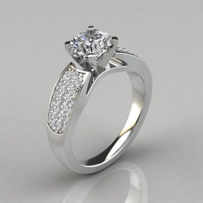 Wide Band Cushion Cut Engagement Ring