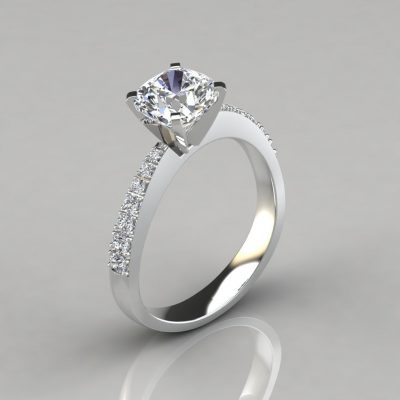 Tapering Pavé Cushion Cut Engagement Ring
