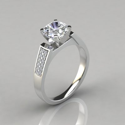 Flat Edged Cathedral Cushion Cut Engagement Ring