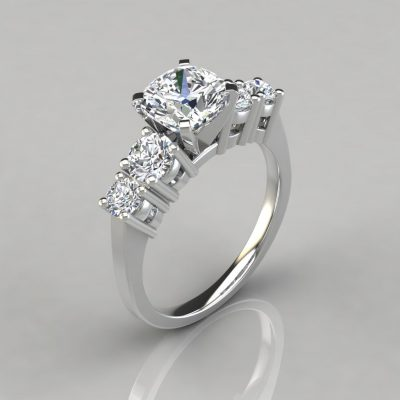 Graduated Five Stone Cushion Cut Engagement Ring