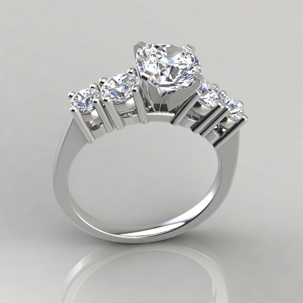 86266319ea0d0 Graduated Five Stone Cushion Cut Engagement Ring