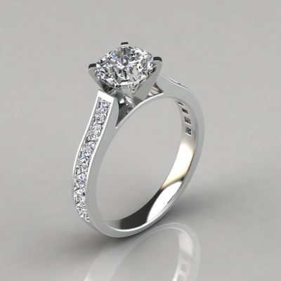 Cushion Cut Channel Set Moissanite Engagement Ring