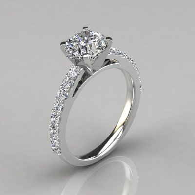 Shared Prong Cushion Cut Moissanite Engagement Ring