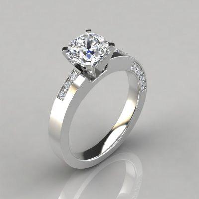 Asymmetric Pave Cushion Cut Gold Engagement Ring