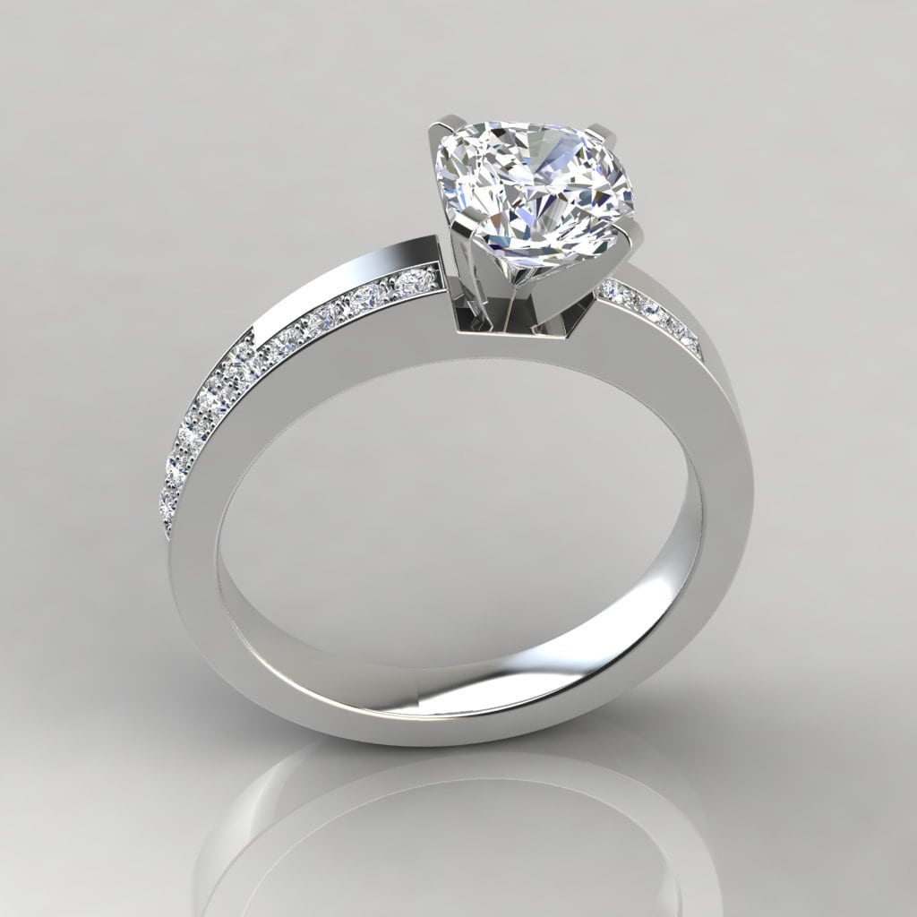 Asymmetric Pave Cushion Cut Gold Engagement Ring