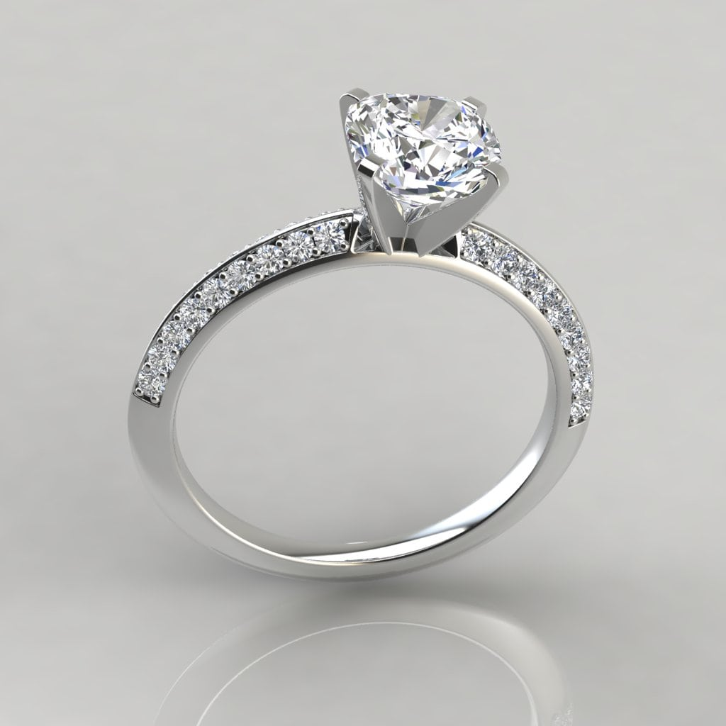 Knife Edge Pave Cushion Cut Engagement Ring