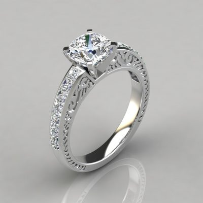 Hand Engraved Cushion Cut Engagement Ring
