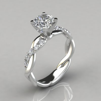 Twist Cushion Cut Engagement Ring