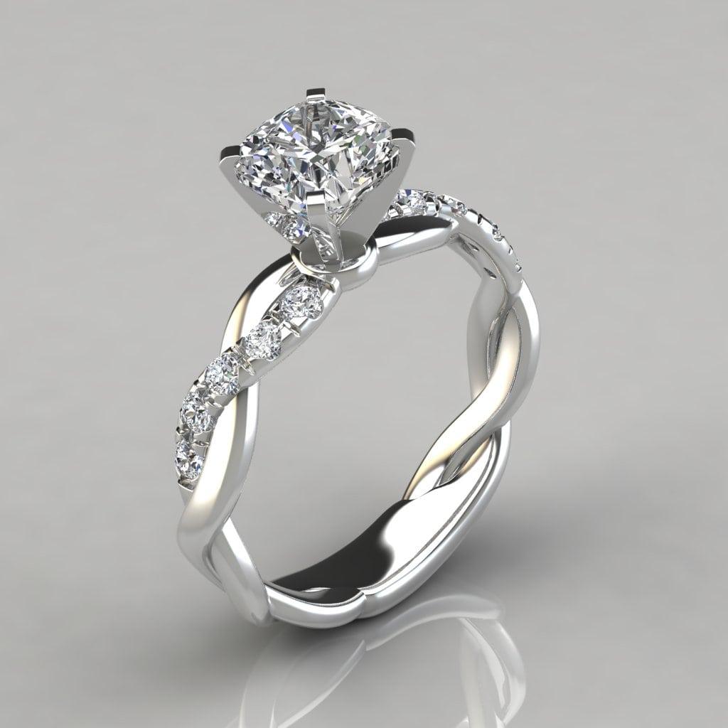 twist cushion cut engagement ring forever moissanite. Black Bedroom Furniture Sets. Home Design Ideas