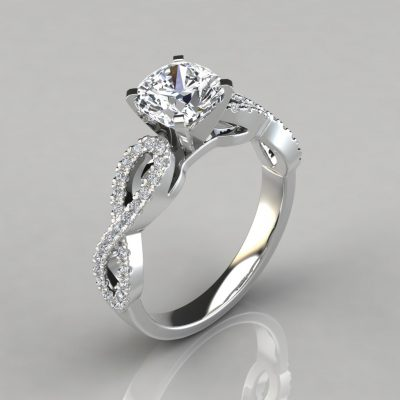 Infinity Design Cushion Cut Engagement Ring