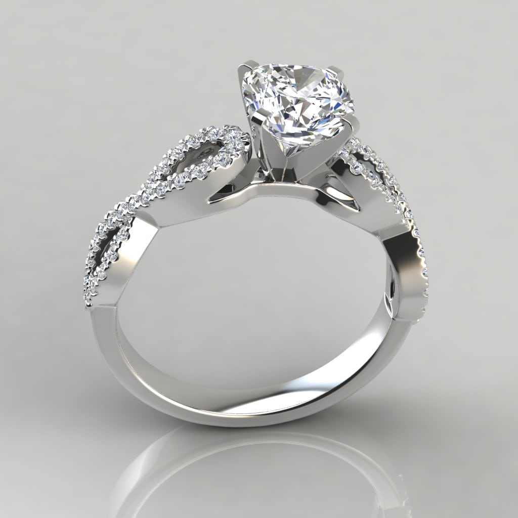 infinity design cushion cut engagement ring forever. Black Bedroom Furniture Sets. Home Design Ideas