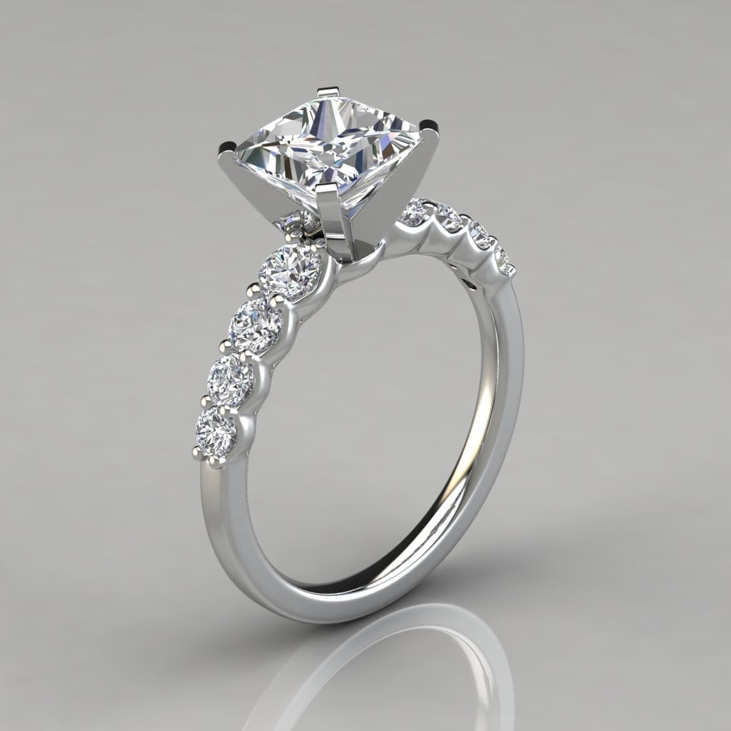 princess cut wedding ring graduated princess cut engagement ring forever moissanite 6803
