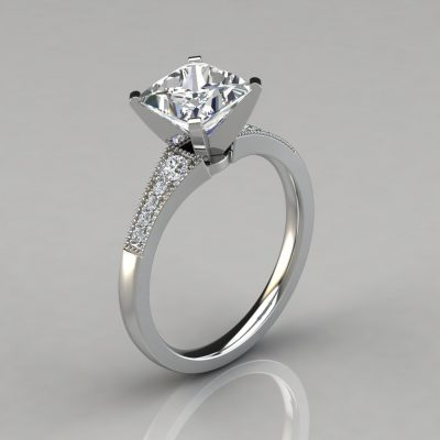 Graduated Milgrain Princess Cut Engagement Ring