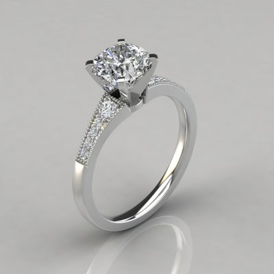 Graduated Milgrain Cushion Cut Engagement Ring