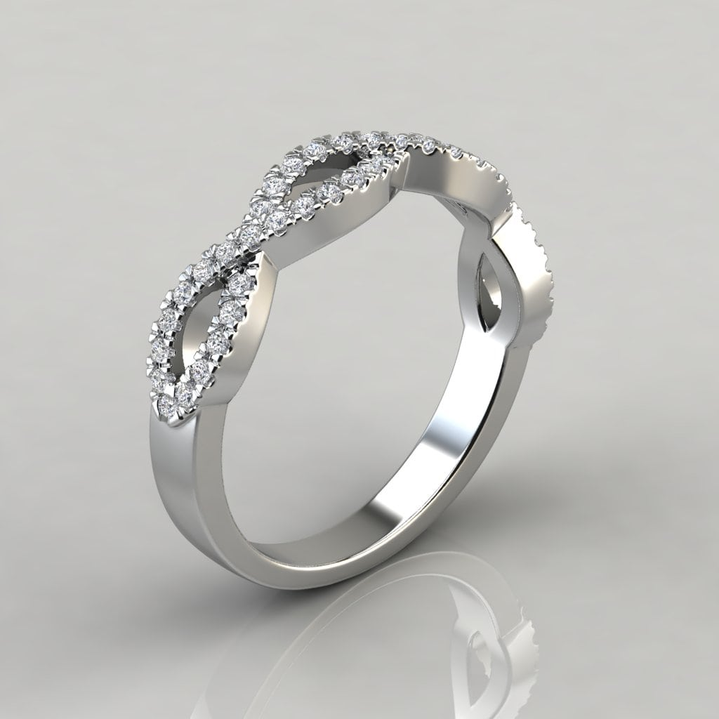 035ct infinity design wedding band ring forever moissanite shown with a 150 carat center diamond junglespirit Images