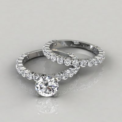 Shared Prong Engagement Ring and Wedding Band Set