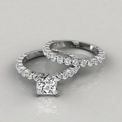 Princess Cut Shared Prong Engagement Ring and Wedding Band Set