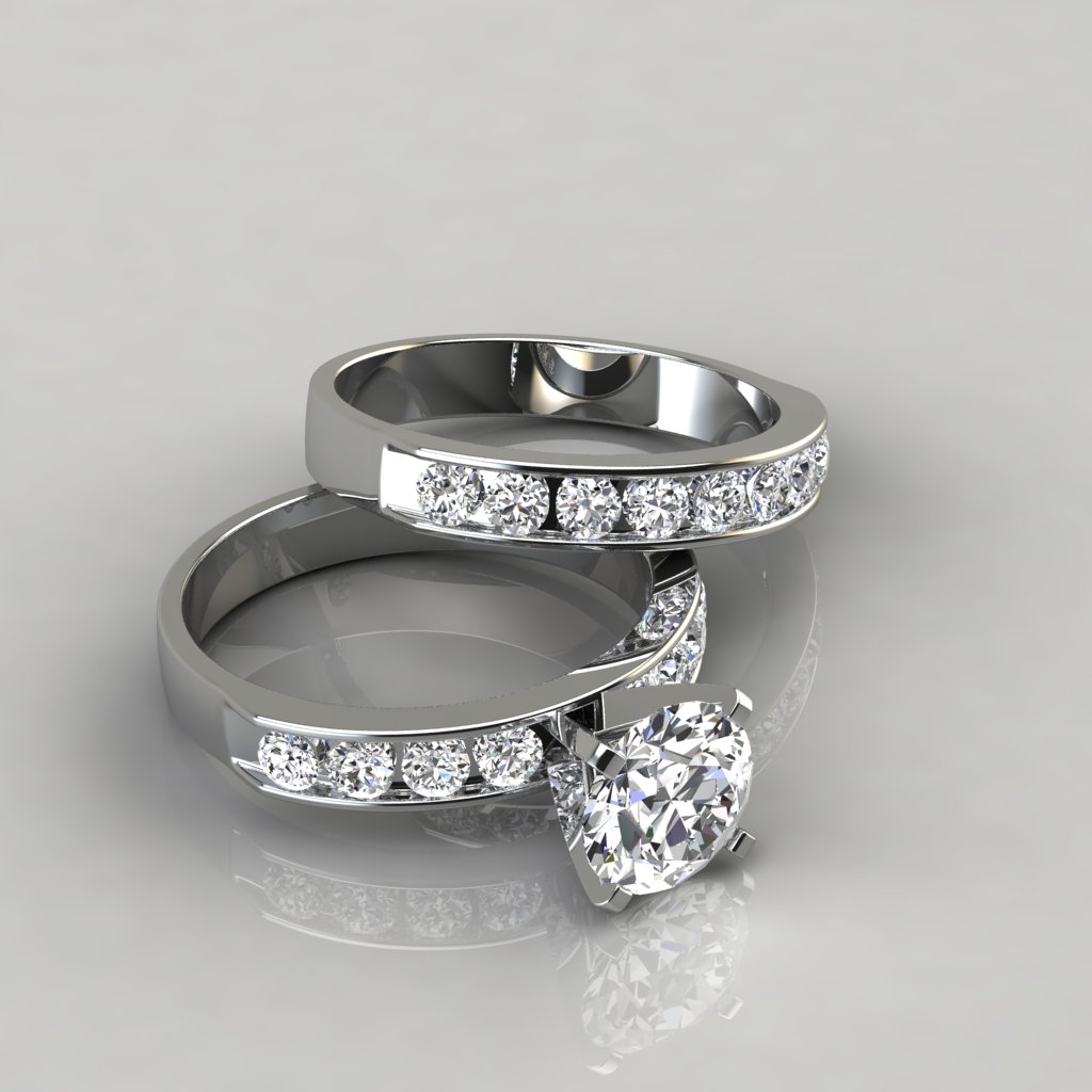 Engagement Rings Round Cut: Round Cut Moissanite Engagement Ring And Wedding Band Set