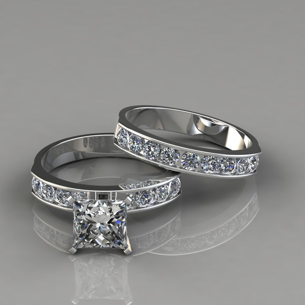 Princess Cut Moissanite Engagement Ring and Wedding Band ...
